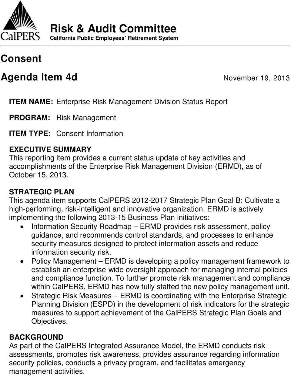 Risk & Audit Committee California Public Employees Retirement System