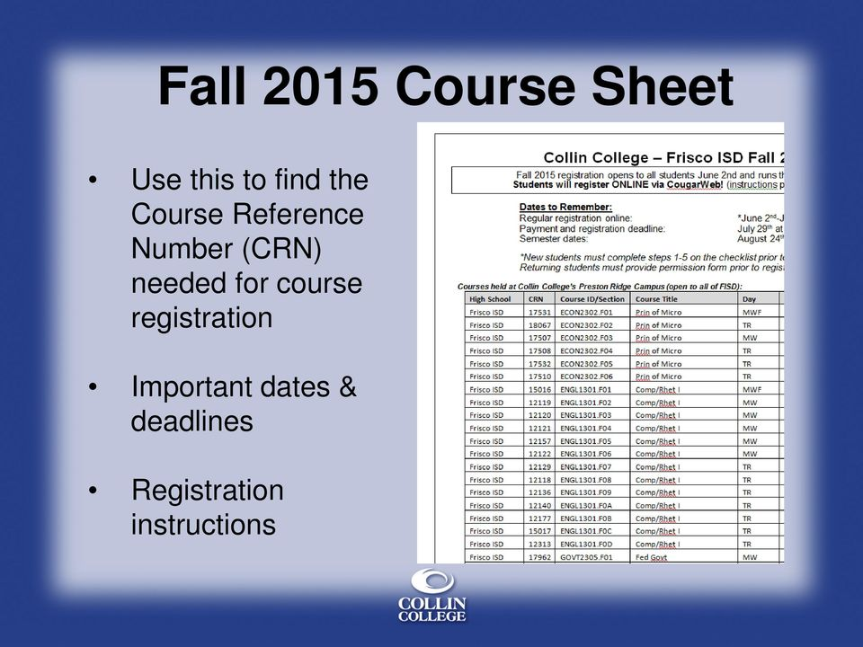 needed for course registration