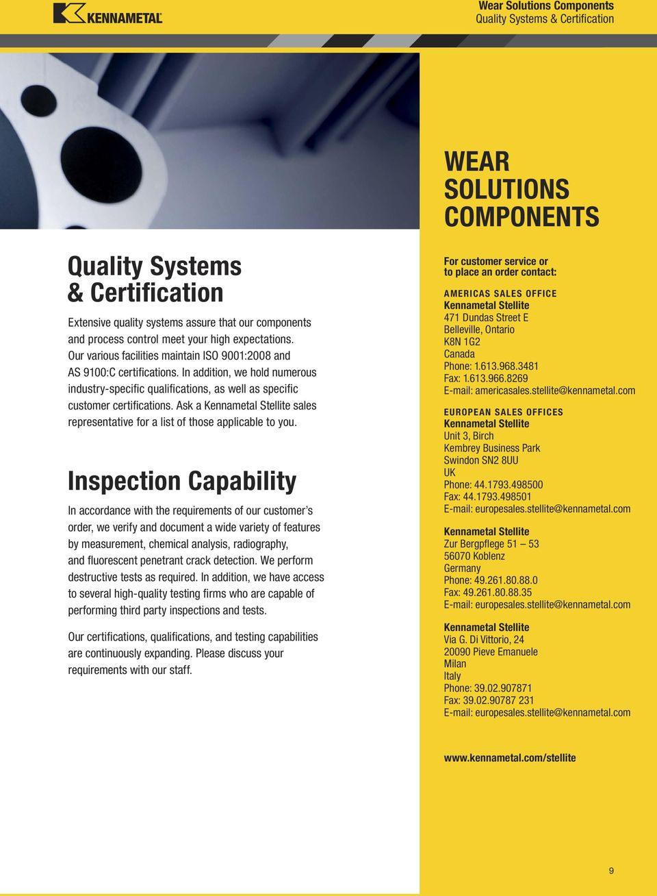 Wear Solutions Components Subheader Pdf Kembrey Wiring Systems Ask A Kennametal Stellite Sales Representative For List Of Those Applicable To You