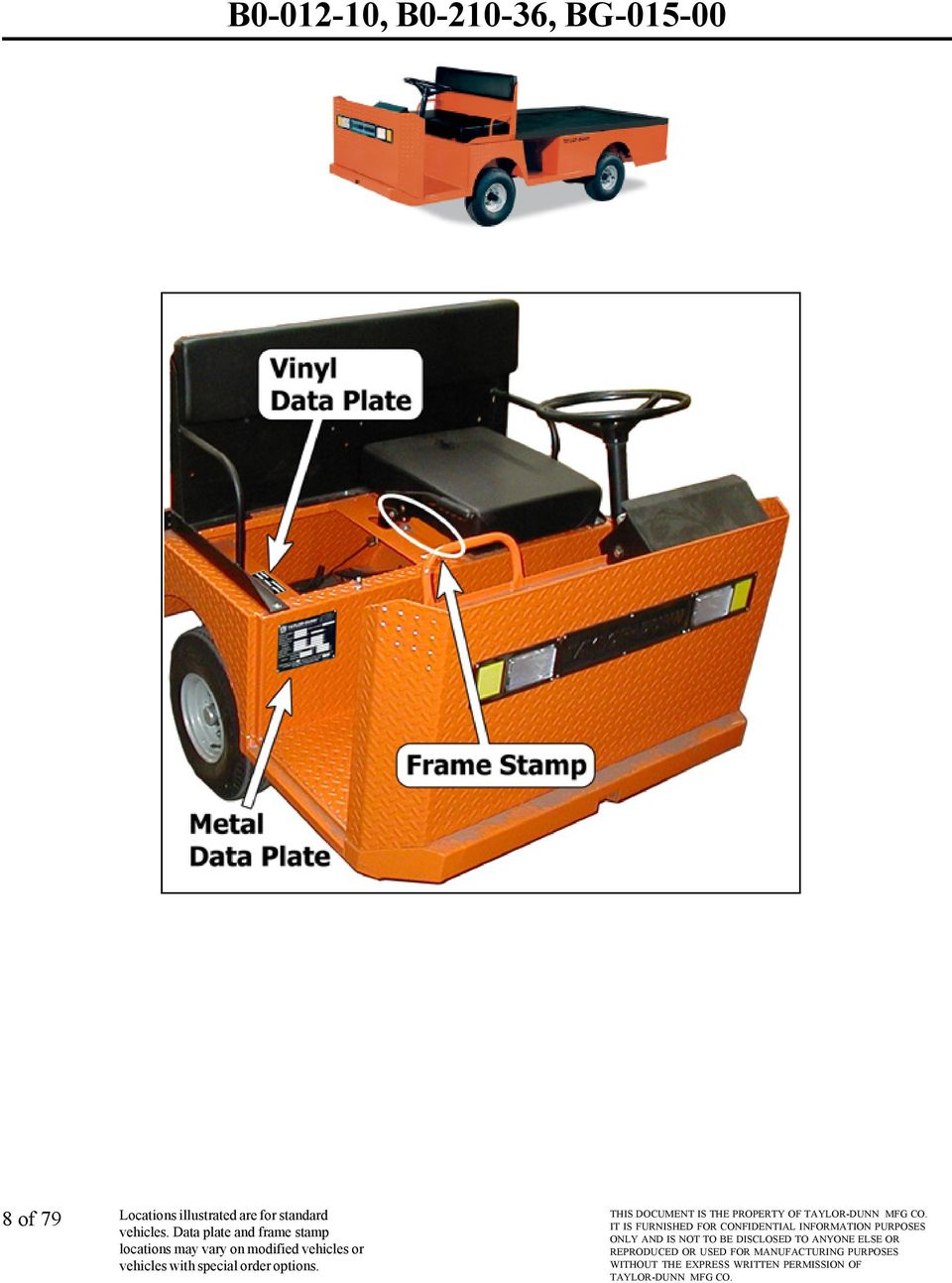 VEHICLE IDENTIFICATION SERIAL NUMBER FRAME STAMP AND