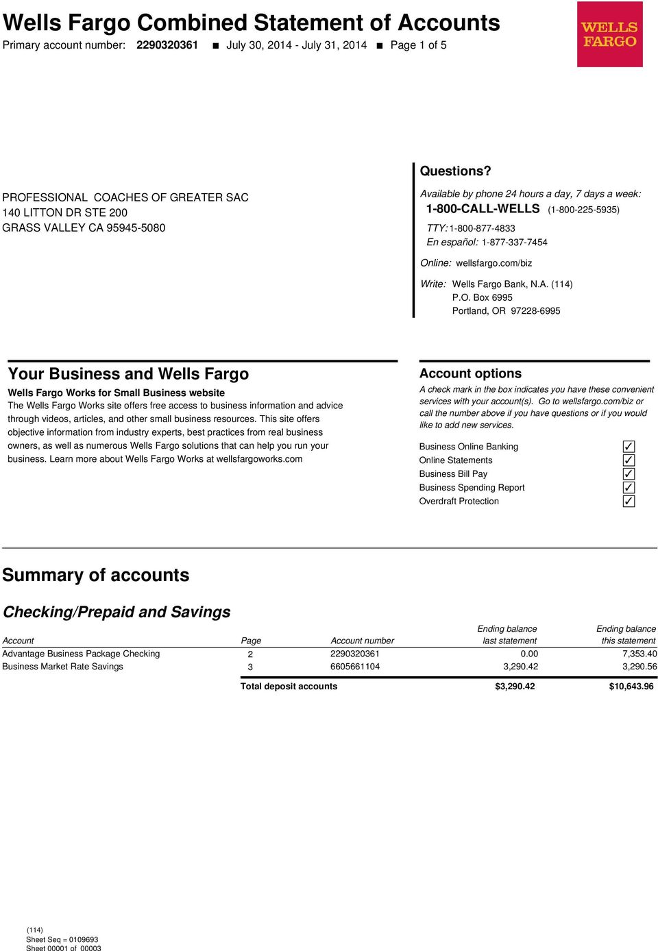 Wells Fargo Combined Statement of Accounts - PDF