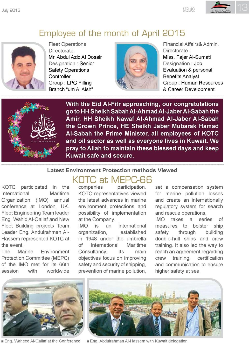 July Monthly Magazine Published By Kuwait Oil Tanker Company's