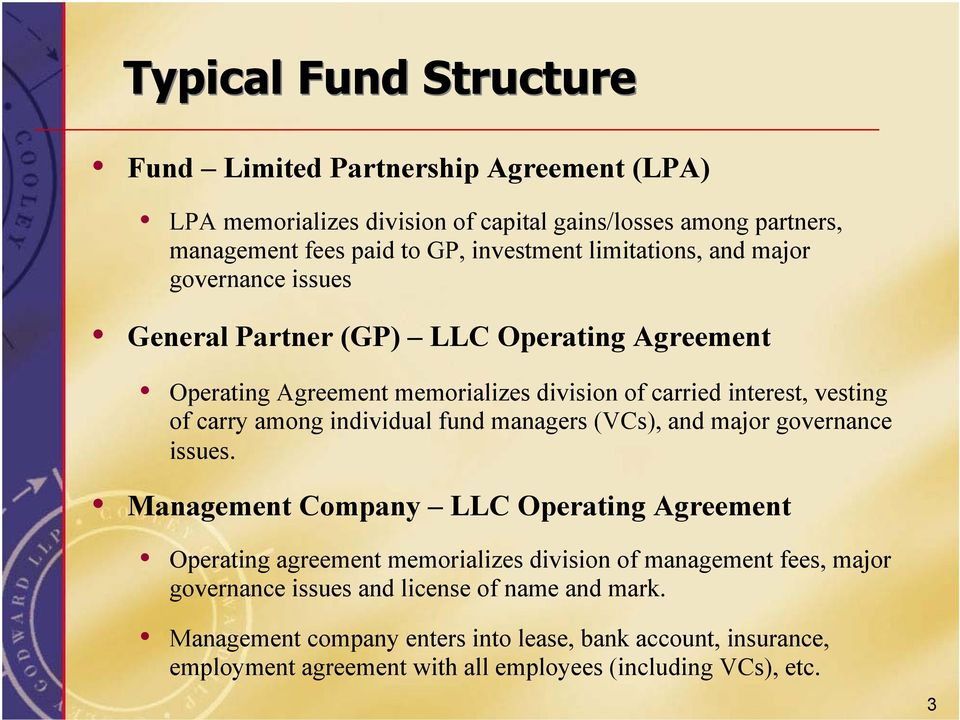 Formation and Operation of Venture Capital/ Private Equity