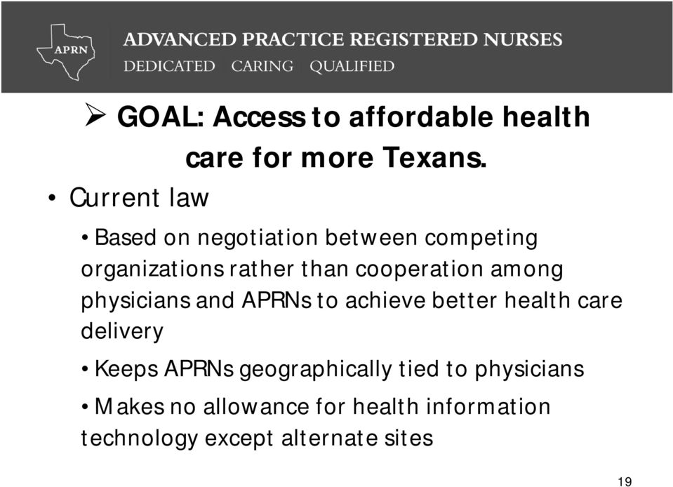 cooperation among physicians and APRNs to achieve better health care delivery Keeps