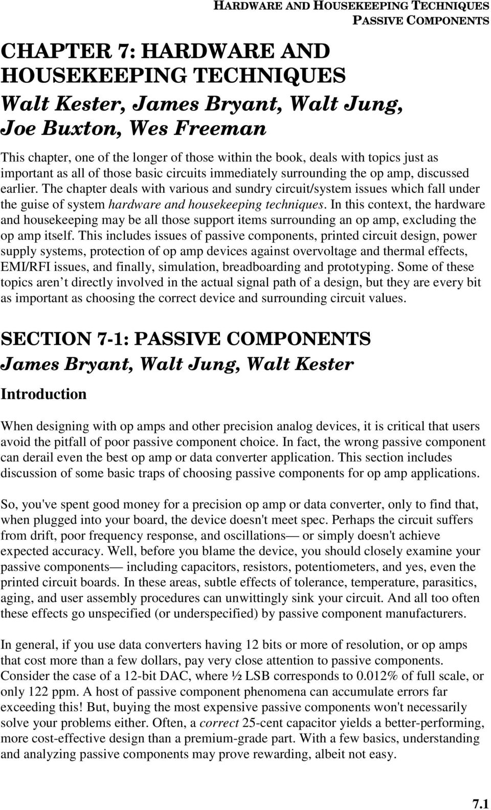 Hardware And Housekeeping Techniques Pdf Family Op Amp Series Amplifier Type General Purpose Number Of Circuits The Chapter Deals With Various Sundry Circuit System Issues Which Fall Under Guise 4 Applications
