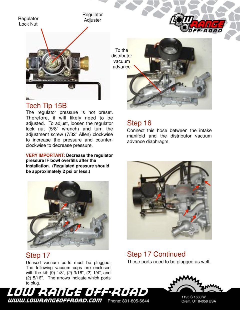 Installation Instructions Pdf 1988 F350 5 8l Intake Manifold Wiring Harness Step 16 Connect This Hose Between The And Distributor Vacuum Advance Diaphragm