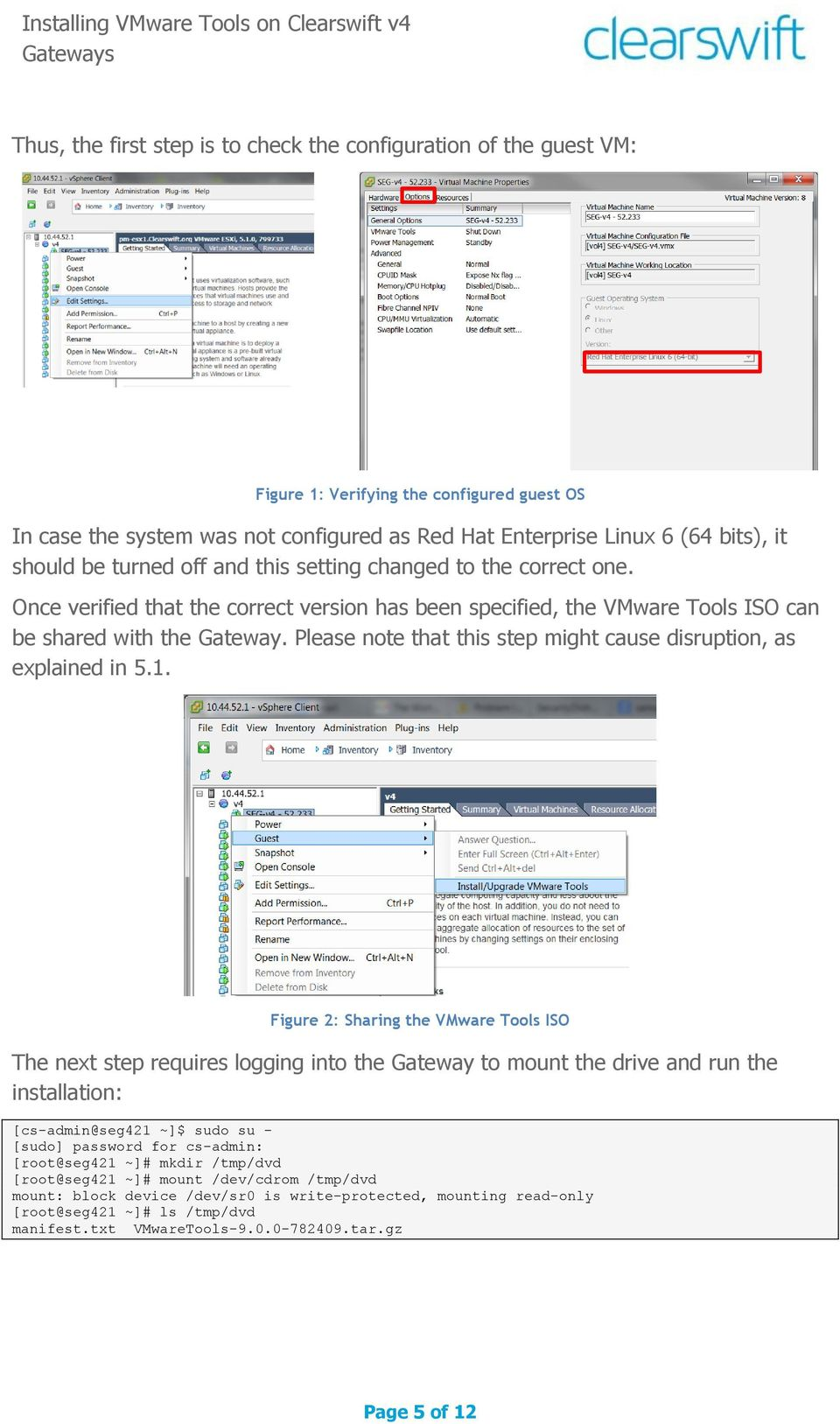 Installing VMware Tools on Clearswift v4 Gateways - PDF