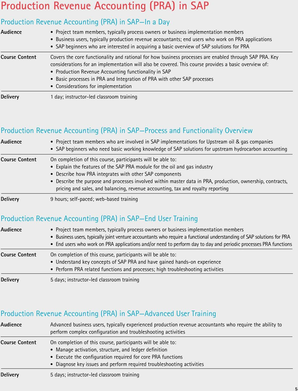 Accenture Upstream Production Operations Training for SAP  Building