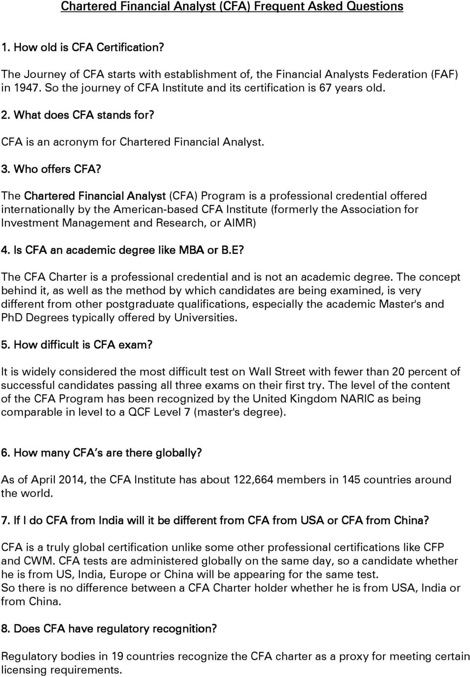 Chartered Financial Analyst Cfa Frequent Asked Questions Pdf