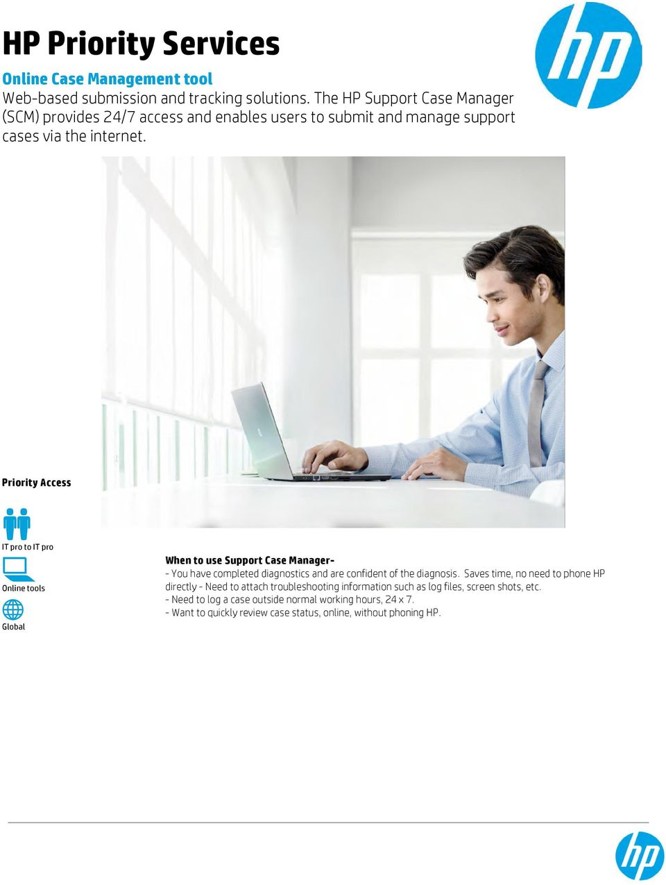 Priority Access IT pro to IT pro Online tools Global When to use Support Case Manager- - You have completed diagnostics and are confident of the diagnosis.