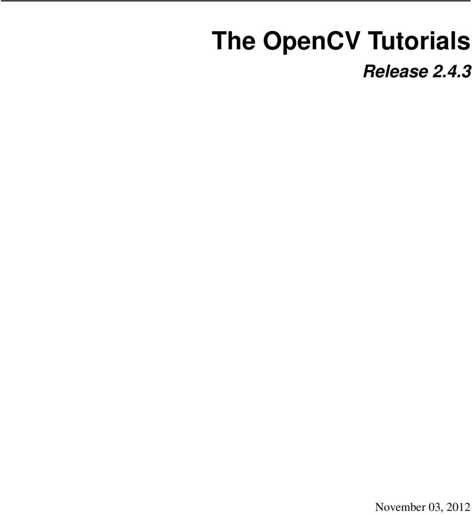 The OpenCV Tutorials  Release PDF