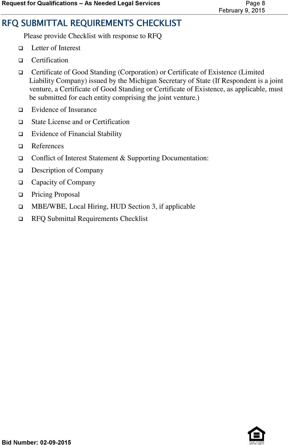 Detroit Land Bank Authority Request For Qualifications As Needed