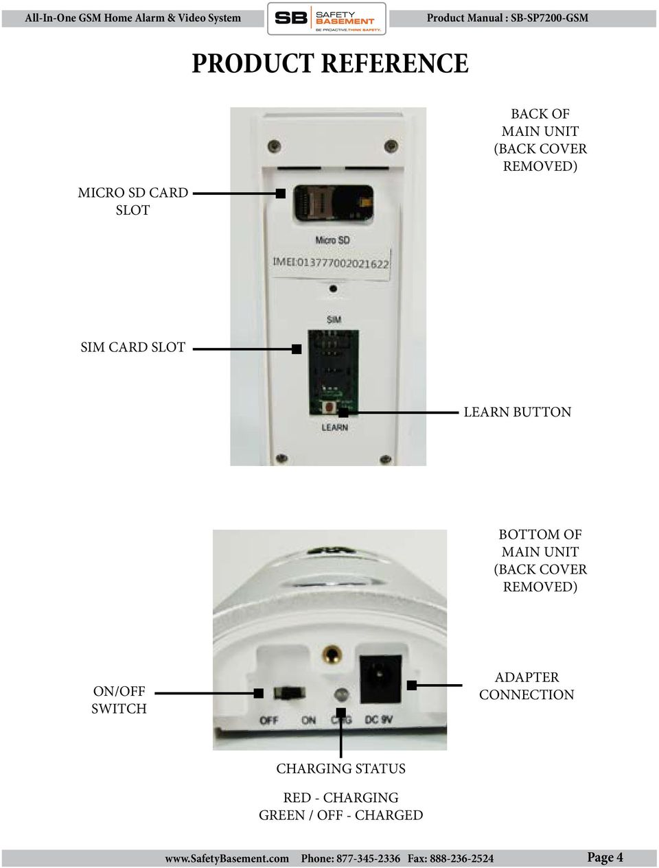 MAIN UNIT (BACK COVER REMOVED) ON/OFF SWITCH ADAPTER