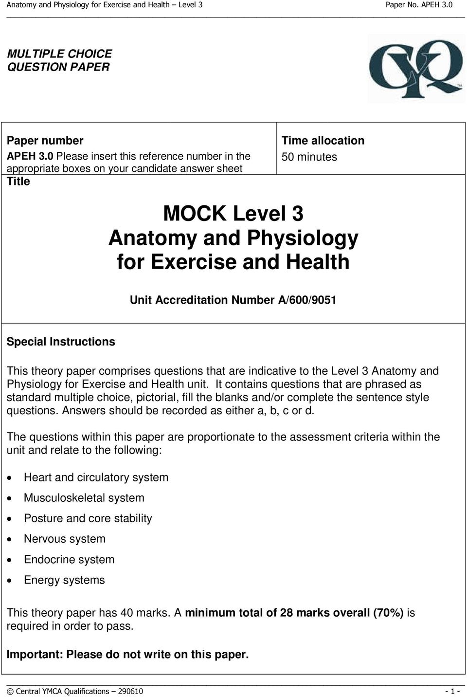 MOCK Level 3 Anatomy and Physiology for Exercise and Health - PDF