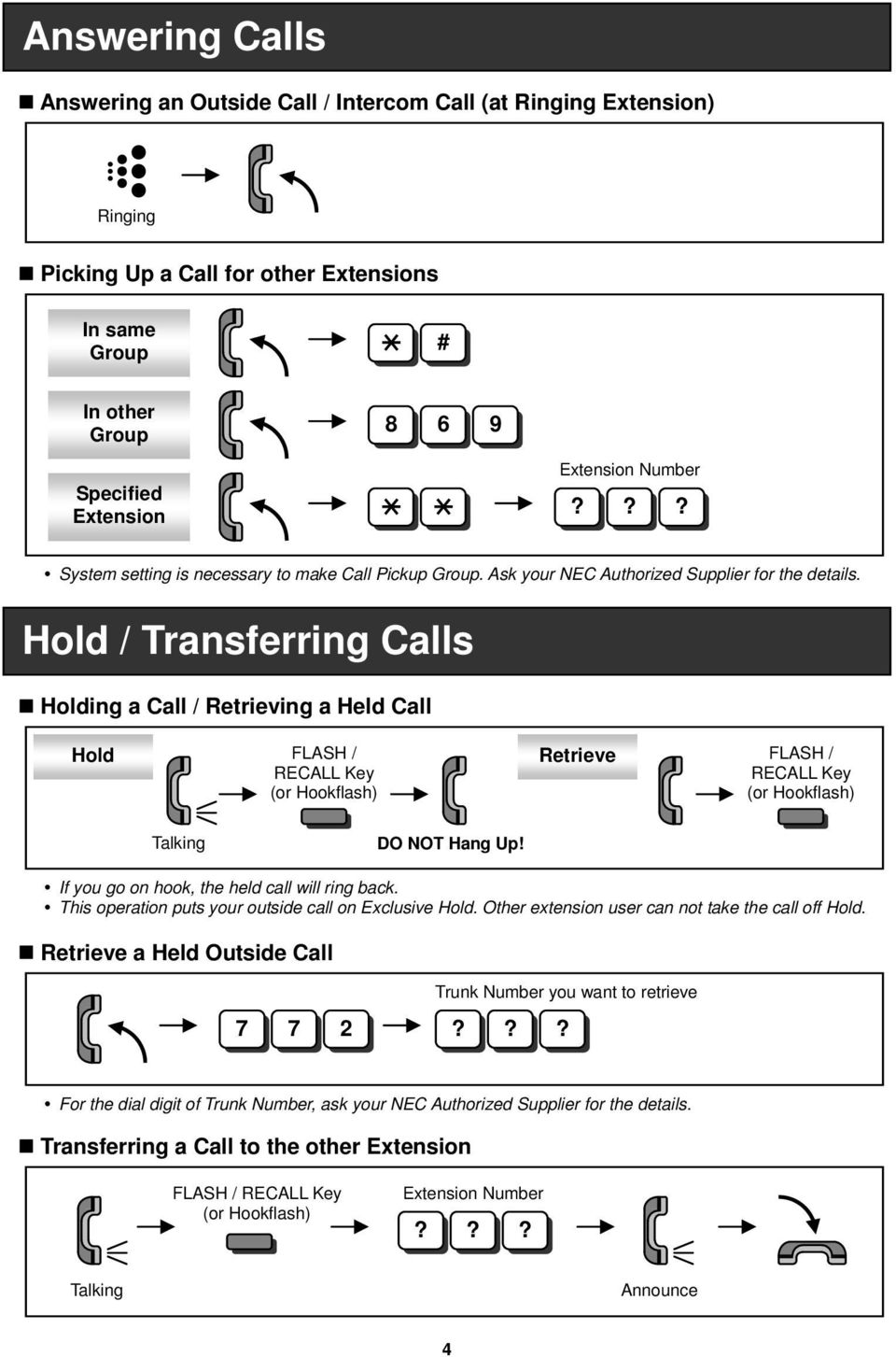 Hold / Transferring Calls Holding a Call / Retrieving a Held Call Hold FLASH / RECALL Key (or Hookflash) Retrieve FLASH / RECALL Key (or Hookflash) Talking DO NOT Hang Up!