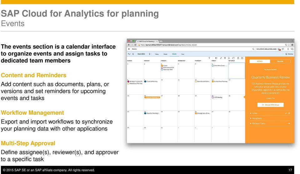 events and tasks Workflow Management Export and import workflows to synchronize your planning data with other applications