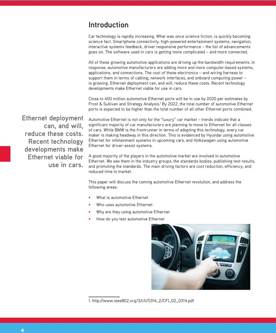 White Paper Automotive Ethernet An Overview Pdf Wiring Harness Makers The Software Used In Cars Is Getting More Complicated And Connected All Of These