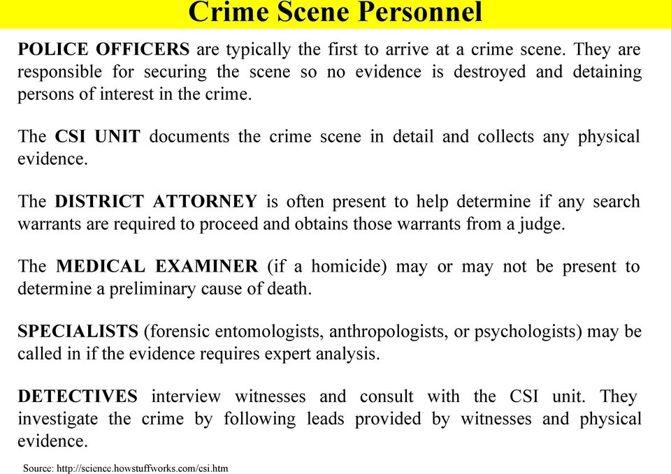 The CSI UNIT documents the crime scene in detail and collects any physical evidence.