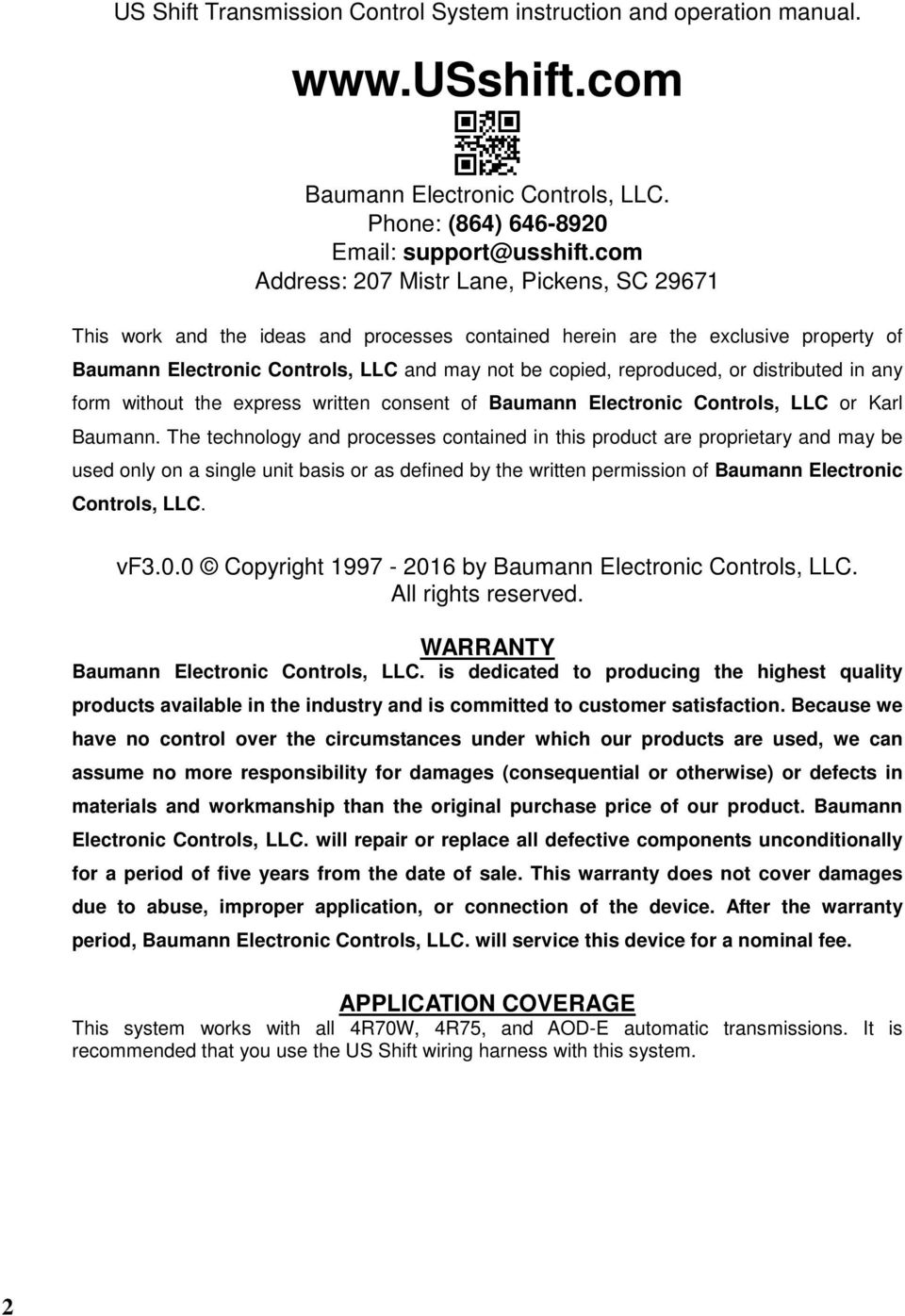 or distributed in any form without the express written consent of baumann  electronic controls, llc