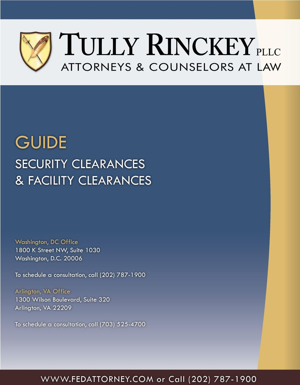 GUIDE SECURITY CLEARANCES & FACILITY CLEARANCES  or Call