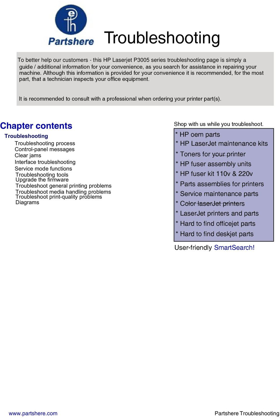 Troubleshooting Chapter Contents Pdf Hp Laserjet 1160 1320 Printer Service Manual It Is Recommended To Consult With A Professional When Ordering Your Parts