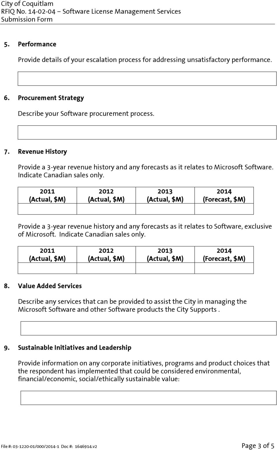 2011 (Actual, $M) 2012 (Actual, $M) 2013 (Actual, $M) 2014 (Forecast, $M) Provide a 3-year revenue history and any forecasts as it relates to Software, exclusive of Microsoft.