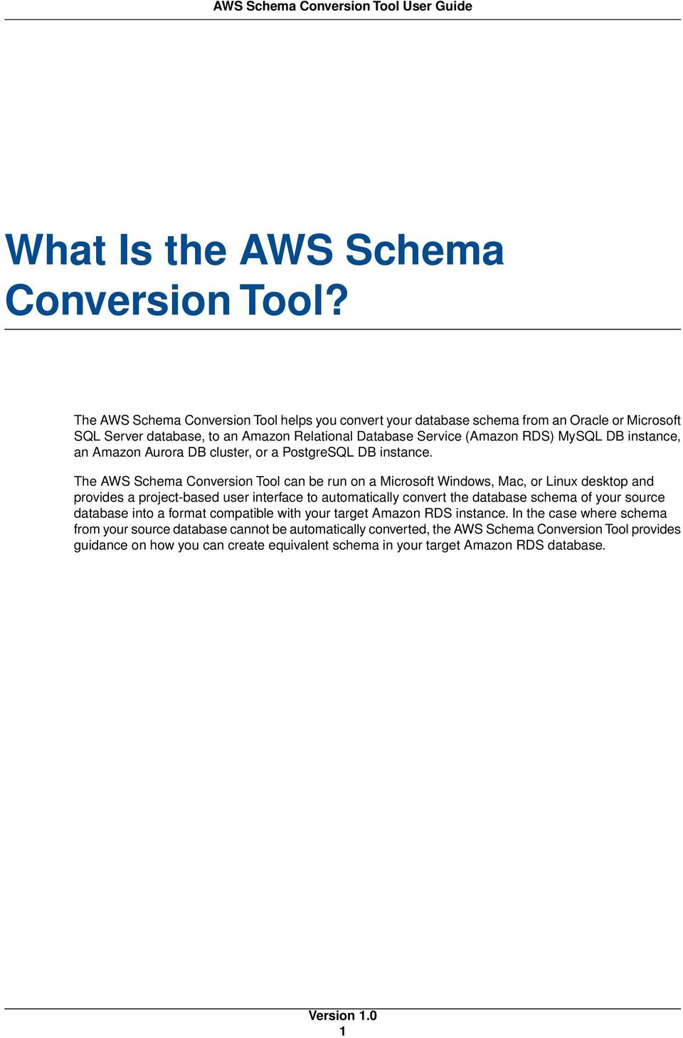 Aws schema conversion tool user guide version pdf an amazon aurora db cluster or a postgresql db instance ccuart Choice Image