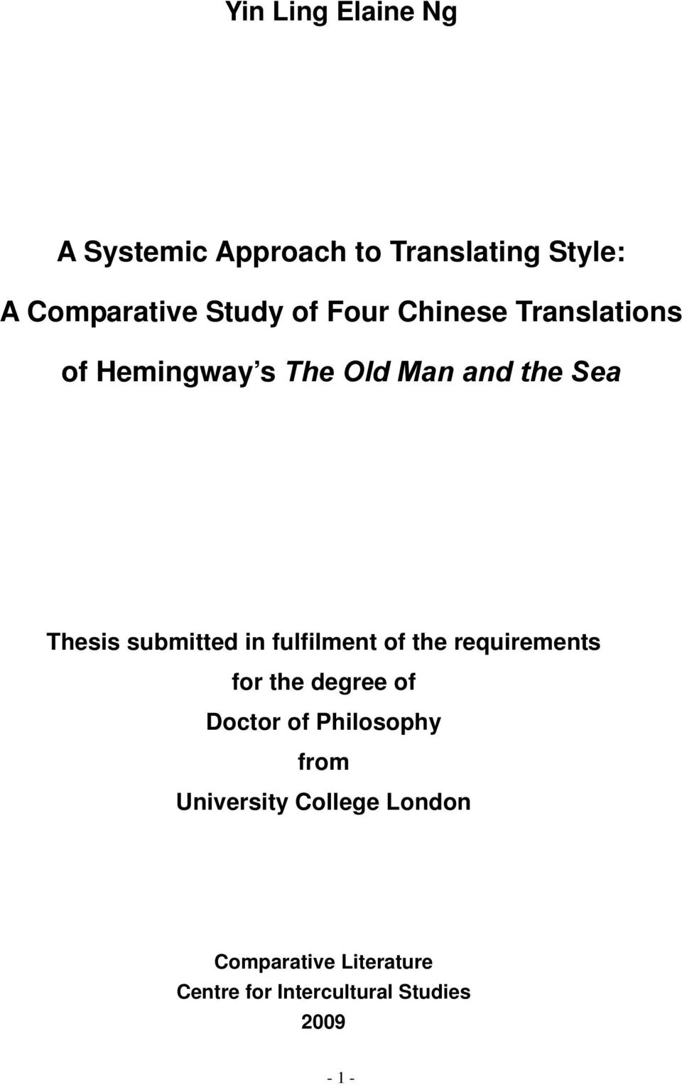 A Systemic Approach to Translating Style: A Comparative