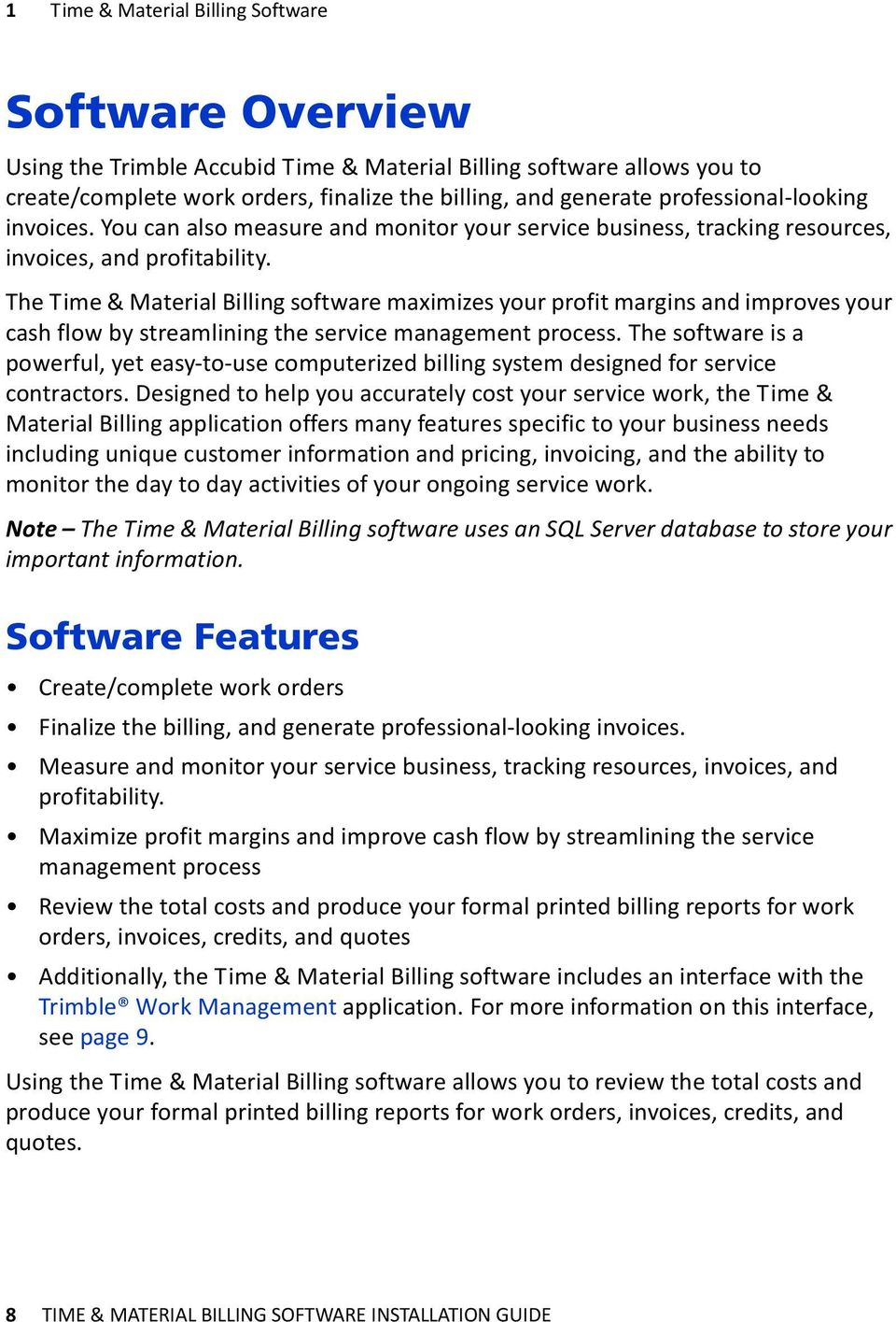 Installation Guide Trimble Accubid Time Material Billing Software - Create invoice software for service business