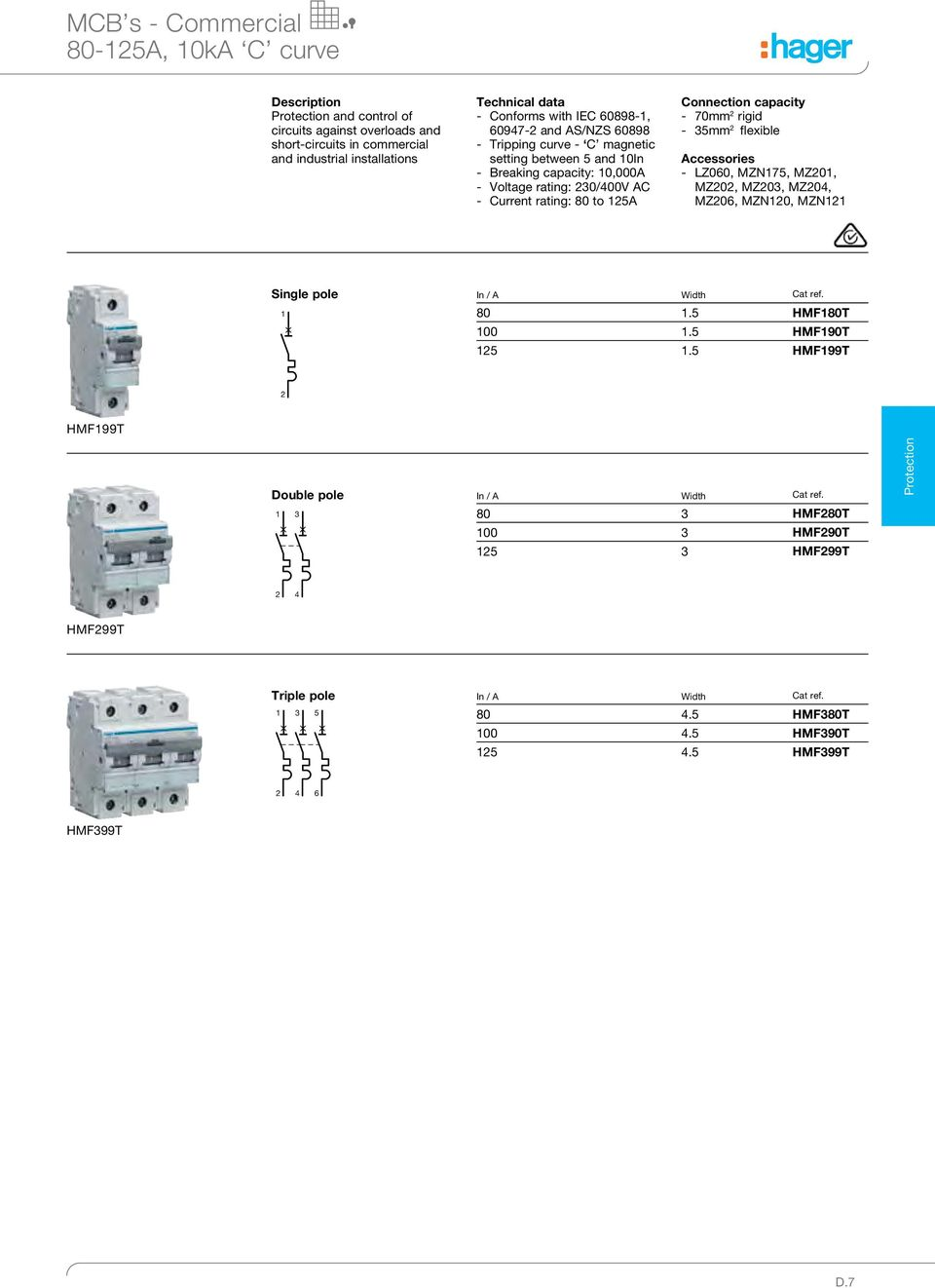 Protection Catalogue 15 Pdf Single Phase Contactor Wiring Diagram Need To Connect Hager Rigid 35mm 2 Flexible Accessories Lz060 Mz175 Mz201 Mz202 Mz203