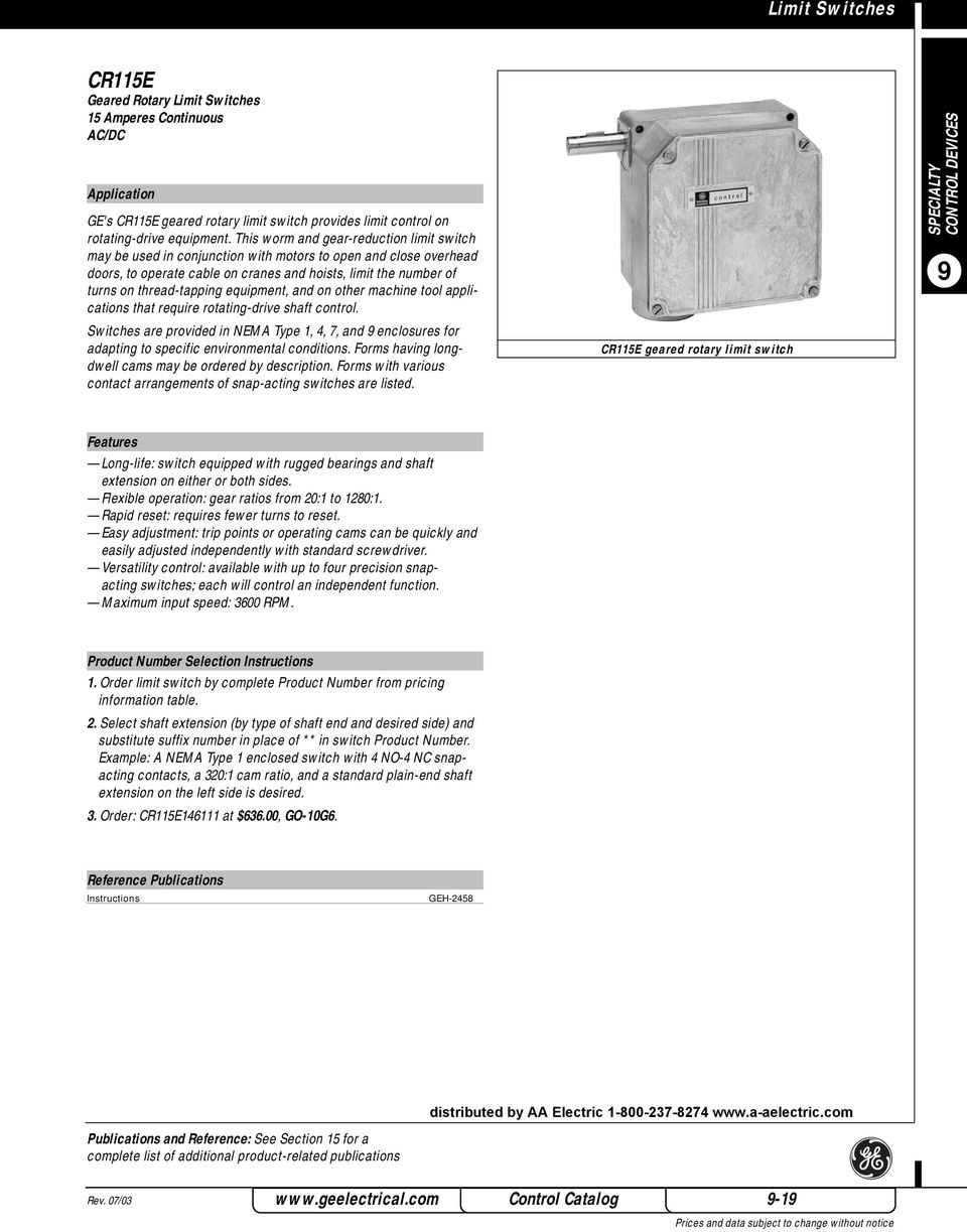 rotary switch wiring diagram ge cr115e wiring library equipment and on other machine tool applications that require rotating drive shaft control