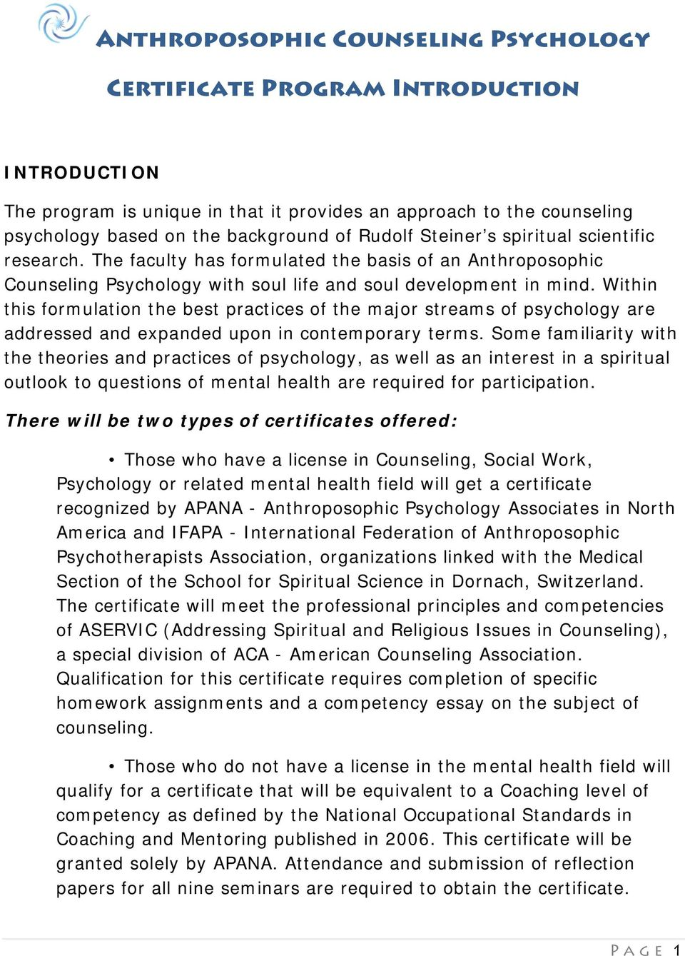 Anthroposophic Counseling Psychology Certificate Program Pdf
