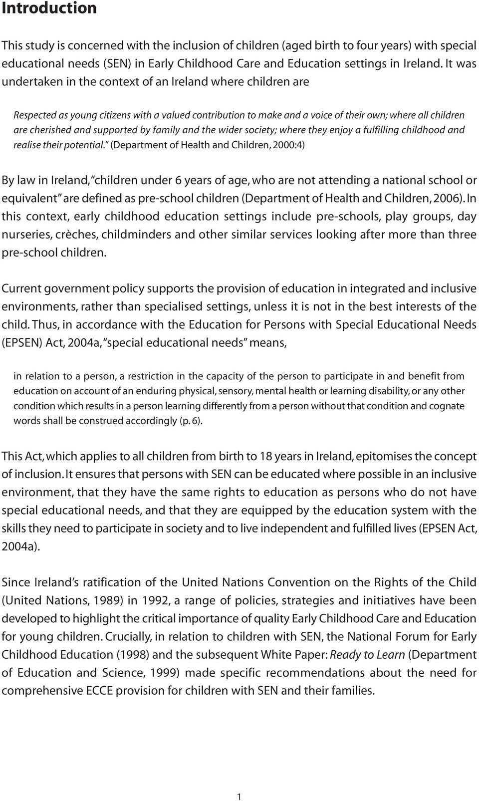 the context of special needs in ireland
