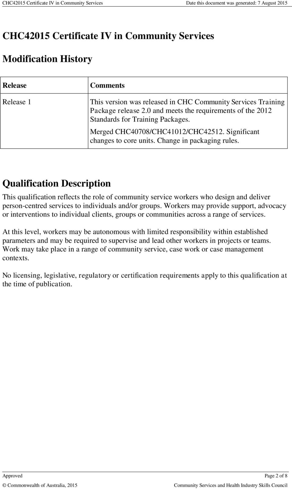 Qualification Description This qualification reflects the role of community service workers who design and deliver person-centred services to individuals and/or groups.