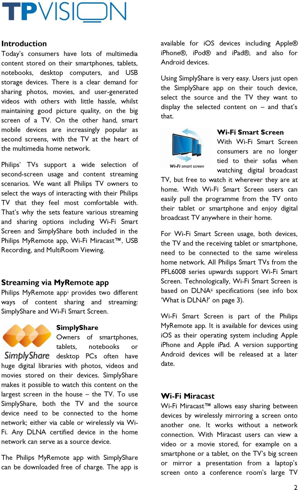 Streaming and content sharing on Philips TVs - PDF