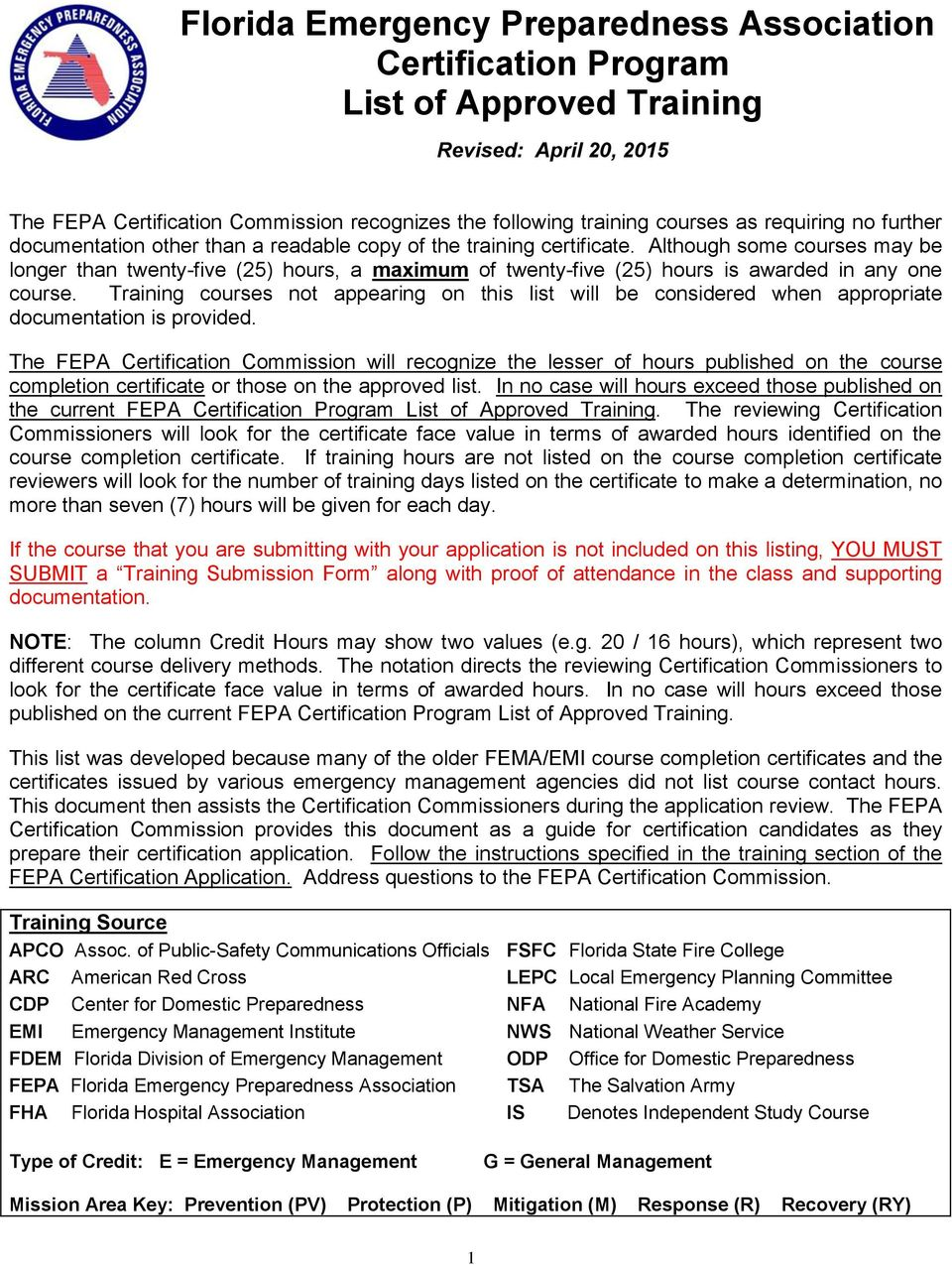 Florida Emergency Preparedness Association Certification Program