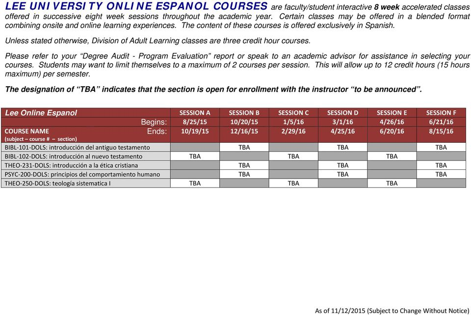LEE UNIVERSITY ONLINE COURSES - PDF