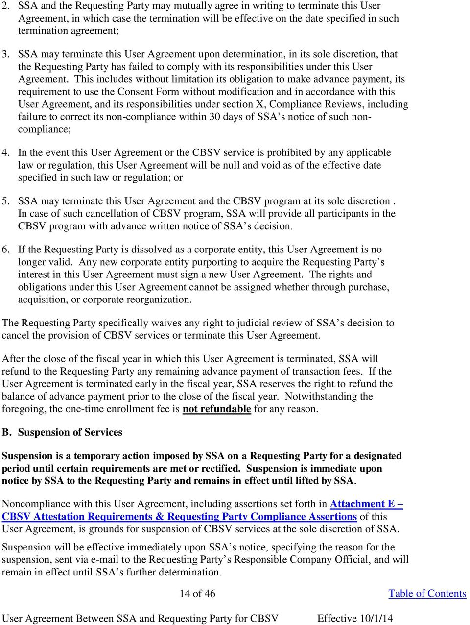 User Agreement Between The Social Security Administration Ssa And