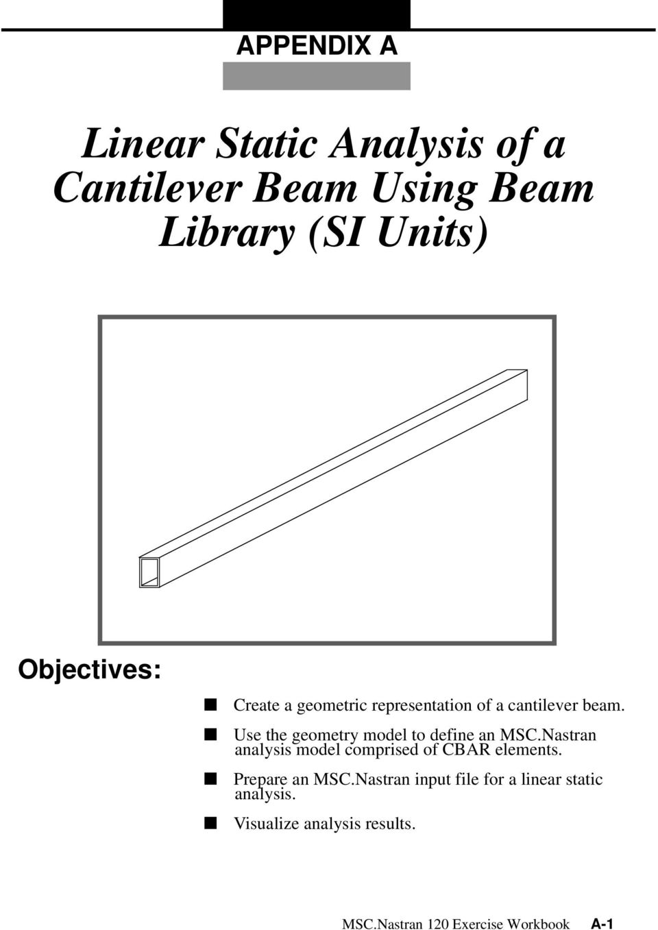 Linear Static Analysis Of A Cantilever Beam Using Library Si Diagram Triangular Use The Geometry Model To Define An Mscnastran Comprised Cbar Elements