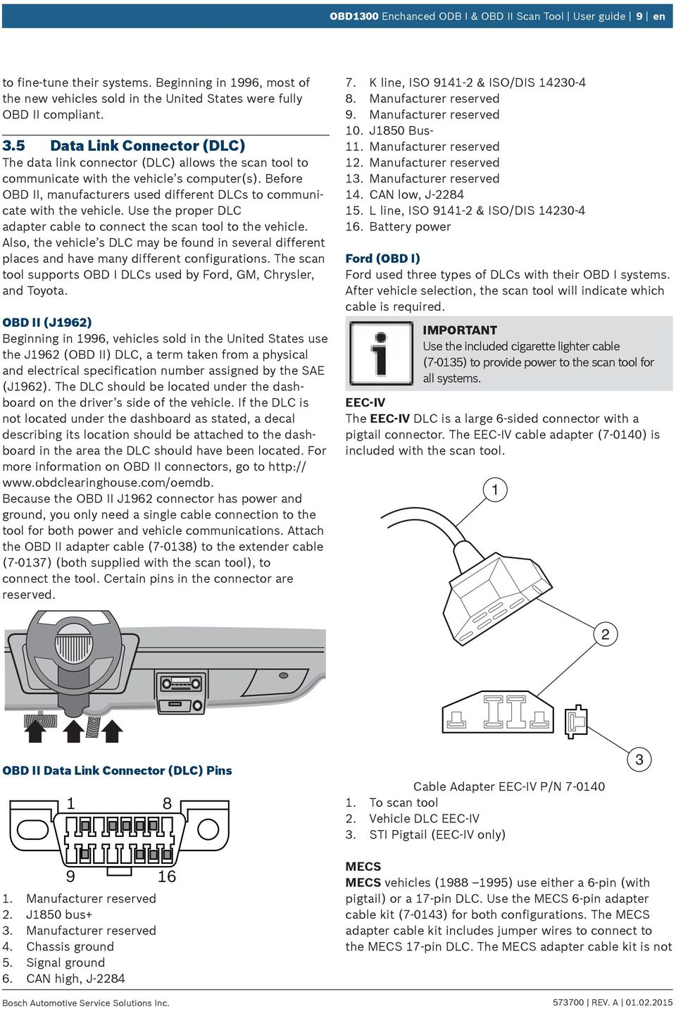 If You Have Questions Or Concerns Contact Technical Support Pdf Scan Tool Obd2 Wiring Diagram Before Obd Ii Manufacturers Used Different Dlcs To Communicate With The Vehicle Use
