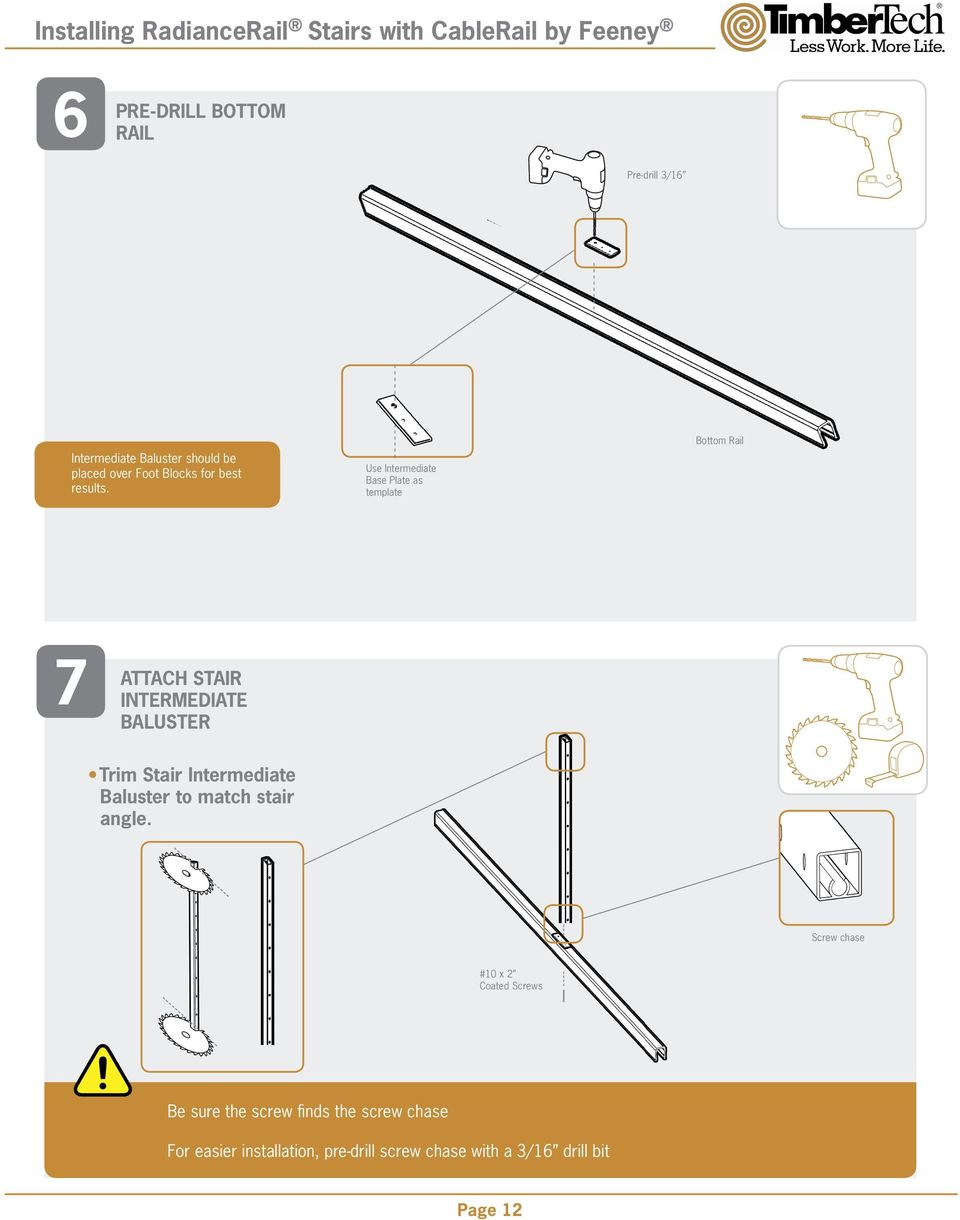 Radiancerail Installation Guide Pdf Stair Diagram House Of Forgings Part Use Intermediate Base Plate As Template Bottom Rail 7 Attach Baluster Trim