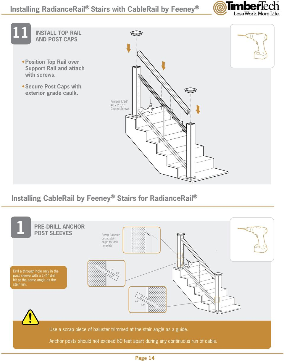 Radiancerail Installation Guide Pdf Stair Diagram House Of Forgings Part Pre Drill 3 16 8 X 2 5 Coated Screws Installing Cablerail By Feeney Stairs