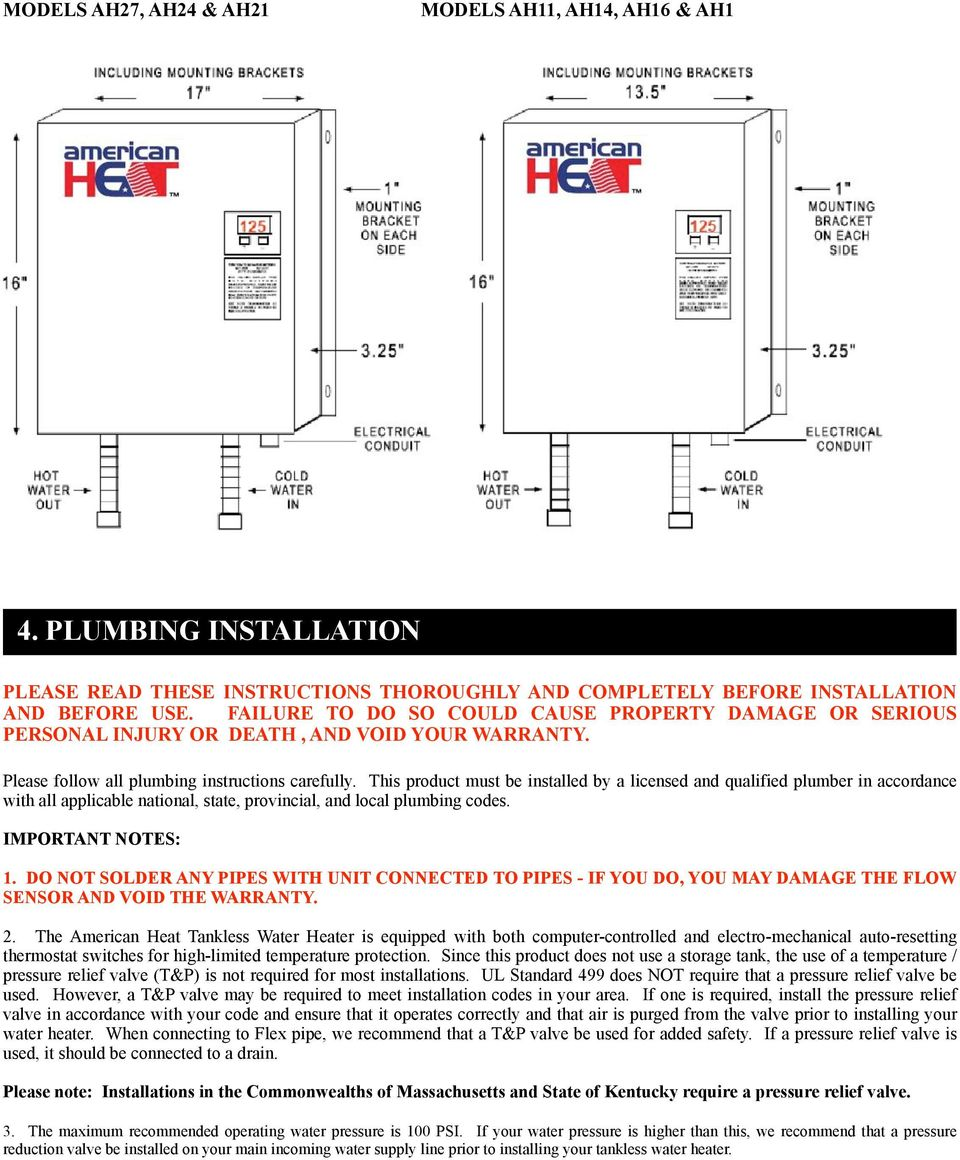 Installation Instructions And Homeowner Manual Pdf Feedback On Subpanel Heating Circuits Wiring Diagram Parts List This Product Must Be Installed By A Licensed Qualified Plumber In Accordance With All Applicable