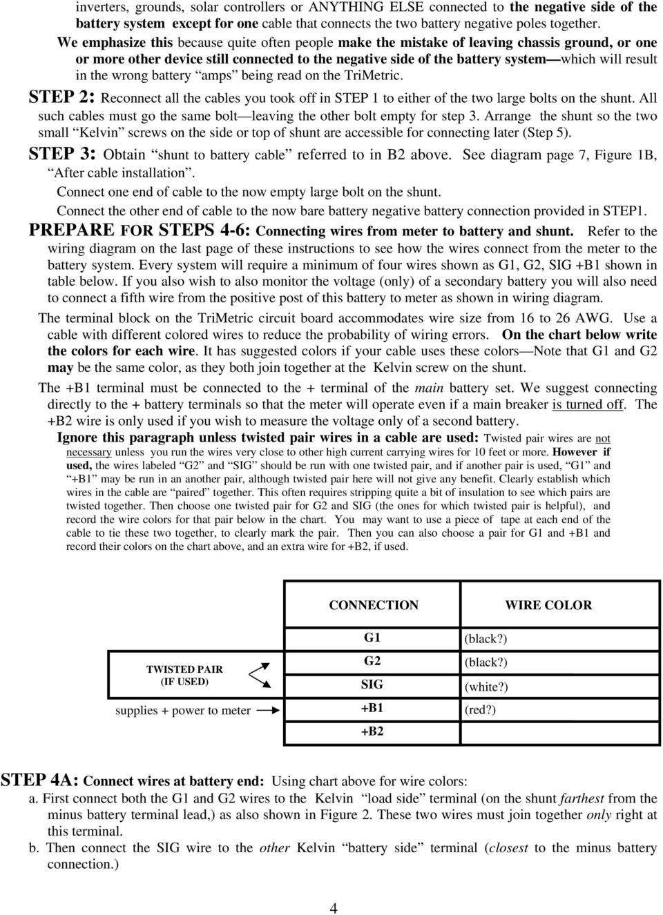 INSTALLER S INSTRUCTIONS FOR TRI-METRIC Battery system monitor ...