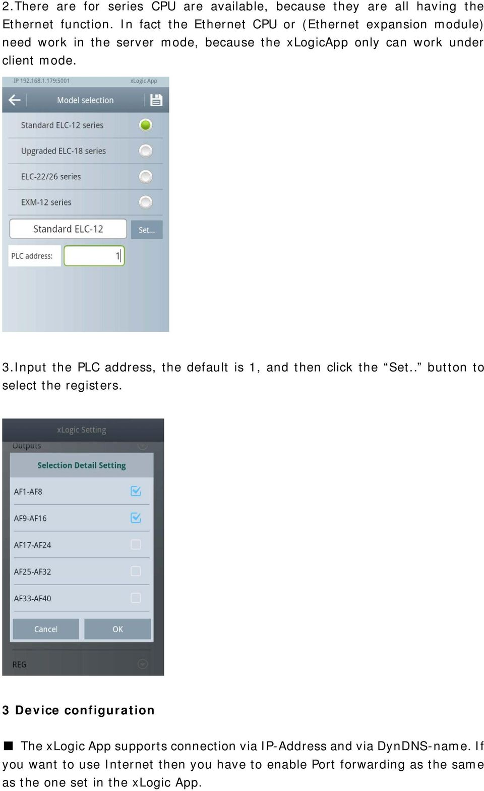mode. 3.Input the PLC address, the default is 1, and then click the Set.. button to select the registers.