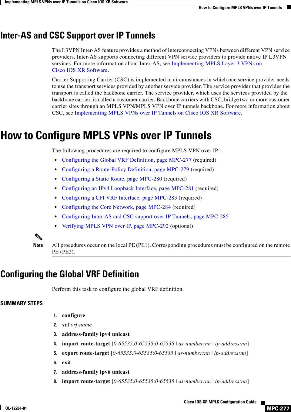 Implementing MPLS VPNs over IP Tunnels on Cisco IOS XR Software - PDF