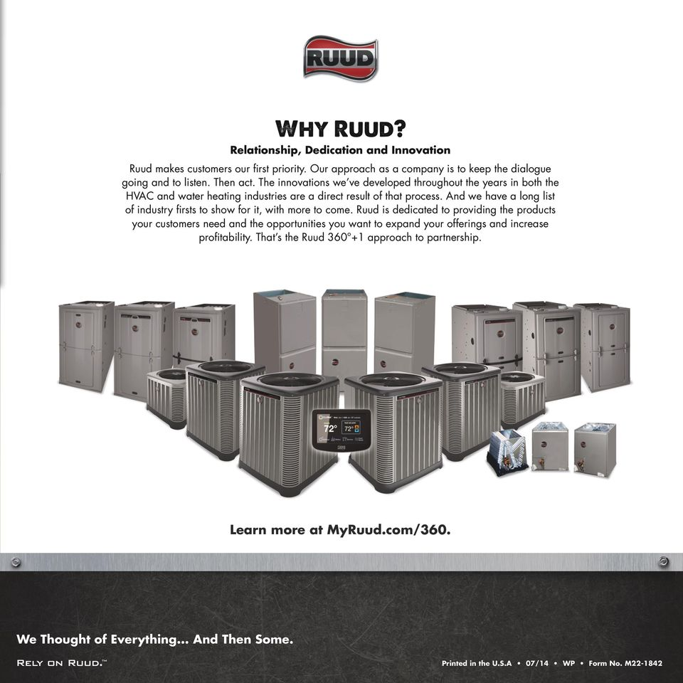 RUUD AIR CONDITIONERS & HEAT PUMPS - PDF