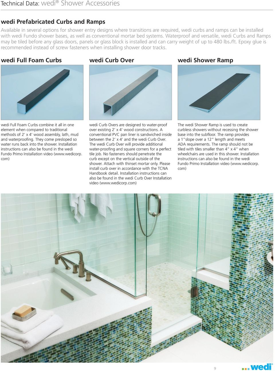 Technical Data. wedi Shower Accessories - PDF