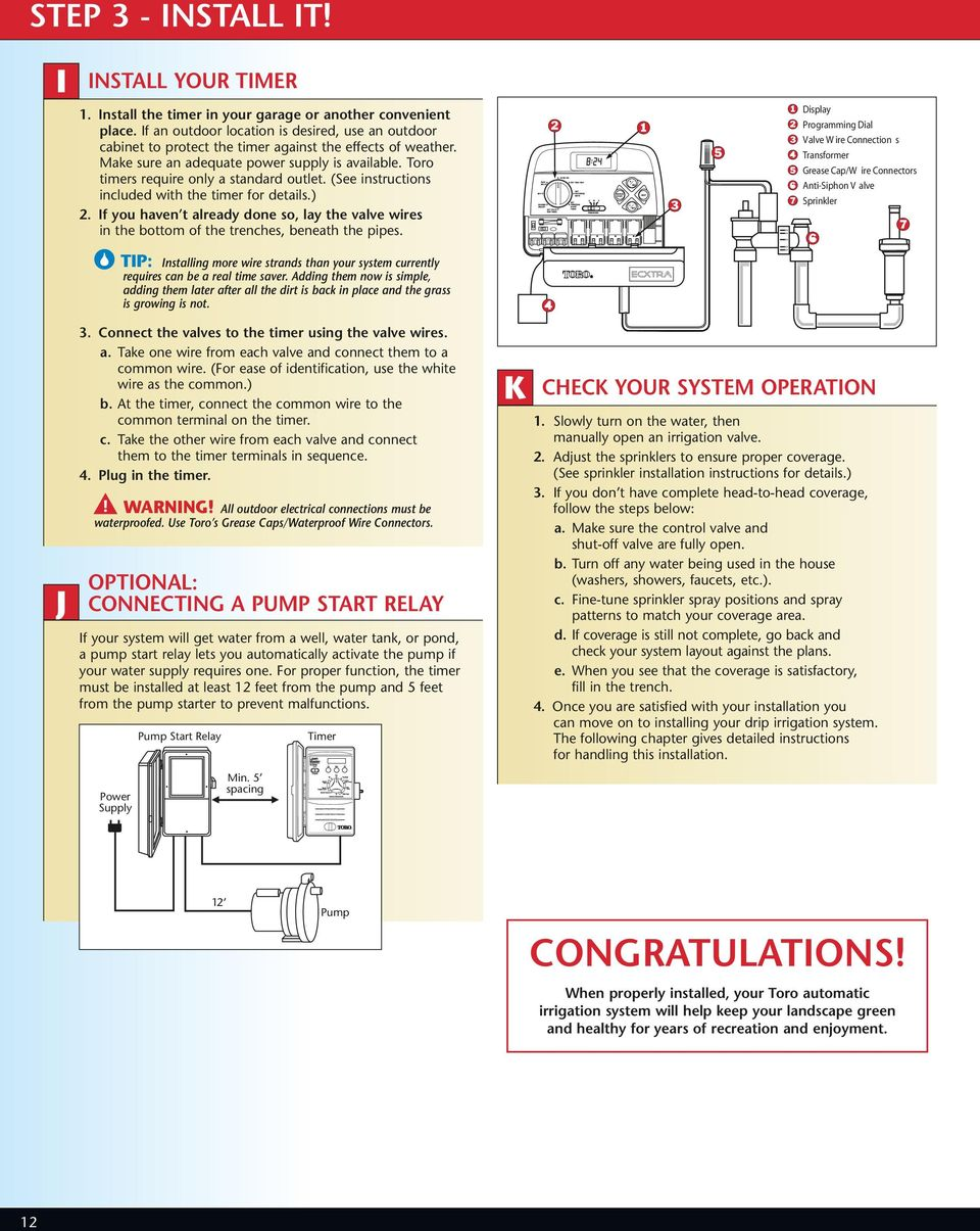Sprinkler Planning Installation Guide Pdf Diagram Further Master Valve For Systems Wiring Toro Timers Require Only A Standard Outlet See Instructions Included With The Timer
