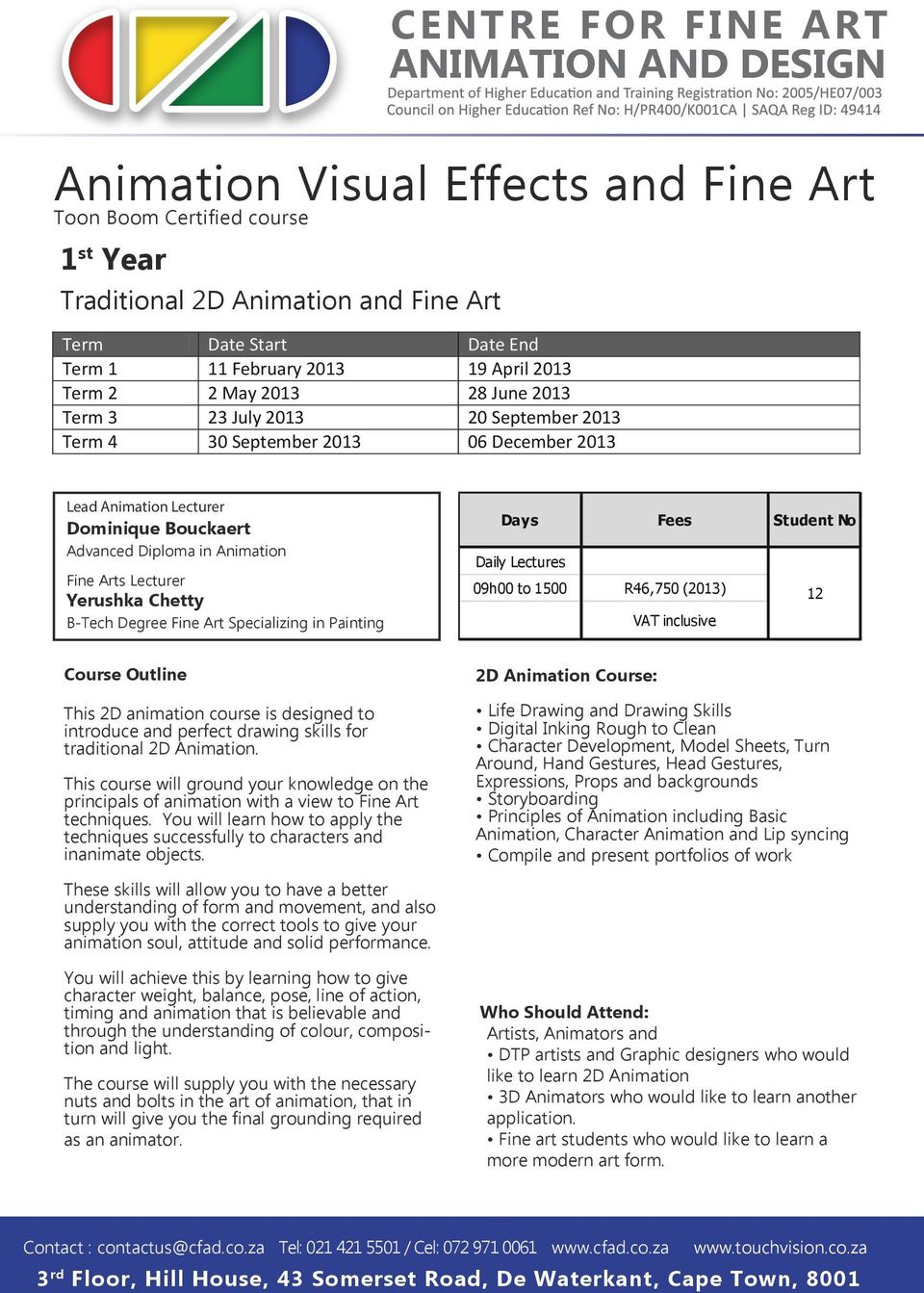 Centre For Fine Art Animation And Design Animation Visual
